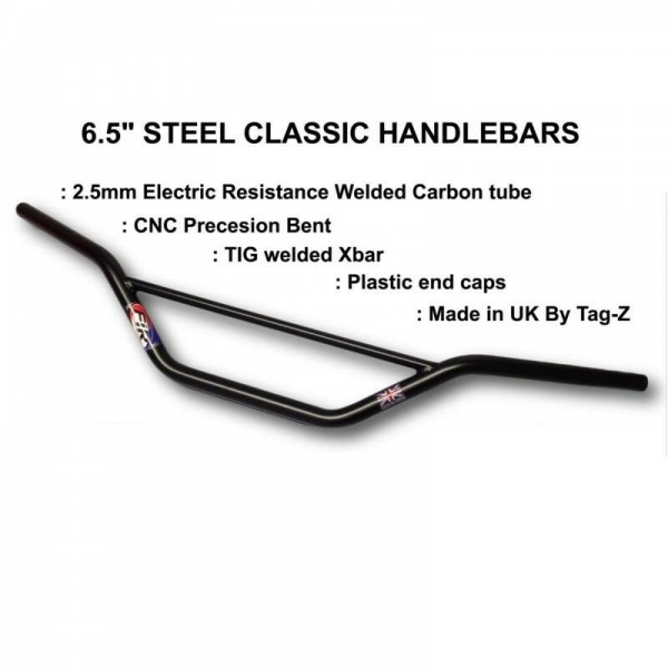 UK TAG-Z BLACK 7/8'' CARBON STEEL TRIALS HANDLEBARS 6.5'' HI-BRACE CLASSIC BEND