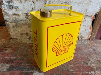 Shell Advertising Vintage Memorabilia Fuel / Petrol Can Hand Painted Brass Top